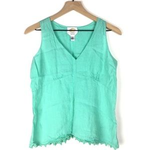 TALBOTS Irish Linen Tank Top Petite Aqua V Neck